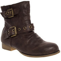 Double Buckle Ankle Biker Boots - Priceless Shoes