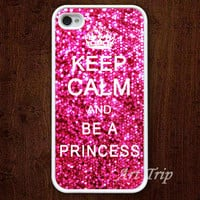 iPhone 4 Case, iphone 4s case -- Keep Calm and be a princess iPhone 4 Case, graphic iphone 4 case, sparkle iphone case