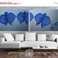 "SALE XXL Blue Orchids Duo - made to order original custom art diptych 28""x71"" with Swarovski crystals and glitter - by Lydia Gee"