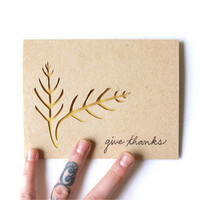 GIVE THANKS Cut Leaves Card