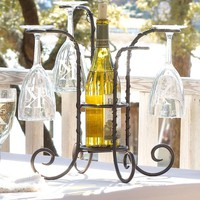 Tabletop Steel Wine Bottle And Glass Holder - Plow & Hearth