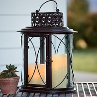 Glass And Iron Outdoor Table Lantern And LED Pillar Candles - Plow & Hearth
