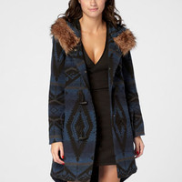 BB Dakota Faux Fur Hooded Flagstaff Jacket | Navy Bostwick Coat | fredflare.com