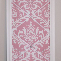 "Pink & White Damask fabric - White Wood Framed Memo Board (14 1/2"" x 38 1/2"")"