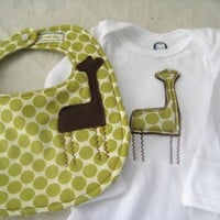 Giraffe in the Polka Dots Bib and Long Sleeved by BeanPickleSprout