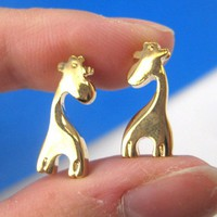 Simple Small Giraffe Silhouette Animal Stud Earrings in Gold