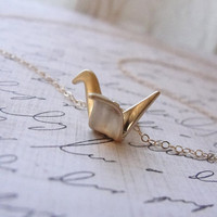 Origami crane necklace - gold crane - simple small jewelry