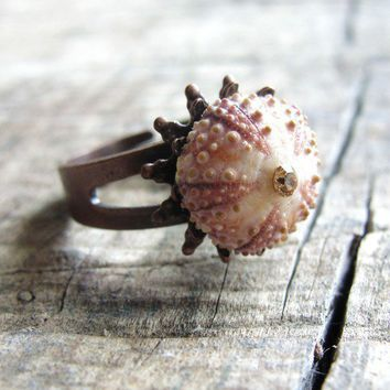Sea Urchin Collection  Mini Pink Copper Ring by staroftheeast