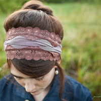 stretch Raspberry Mocha headband fall winter by GarlandsOfGrace