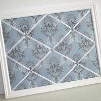 Blue Verailles Damask fabric - White Wood Framed Memory Board
