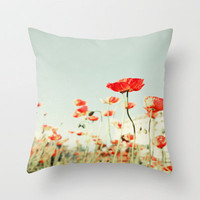 Bright Floral Poppy Flowers  Throw Pillow by Bree Madden  | Society6