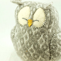 Owl Felted Wool in Patterned Grey and White Lamb by ForMyDarling