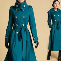 Blue Cashmere Long Military style Coat (379)