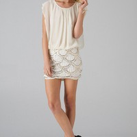 Ivory Skirt Dress with Bead & Sequin Scallop Detail