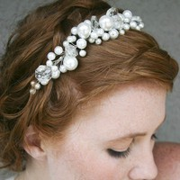 Pearl tiara with chandelier crystals simple by BeSomethingNew