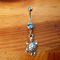 Belly button ring - Silver turtle Belly ring