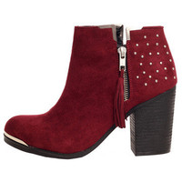 GYPSY WARRIOR - Aquila Studded Bootie - Burgundy