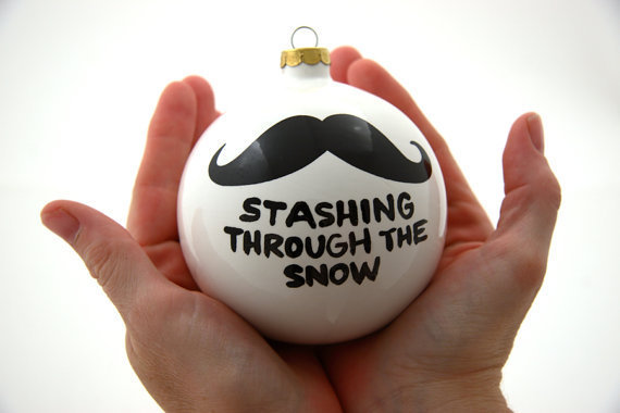 Christmas Ornament Ceramic Ball with Mustache by LennyMud on Etsy