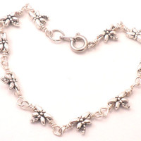 Dragonfly Chain Link Bracelet Tibetan Silver and Wrapped Wire