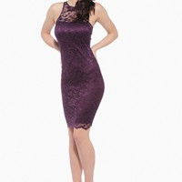 Purple Sleeveless Lace Midi Dress