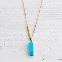 Ultramarine - turquoise bar pendant necklace on gold fill chain - sleek modern jewelry - edor