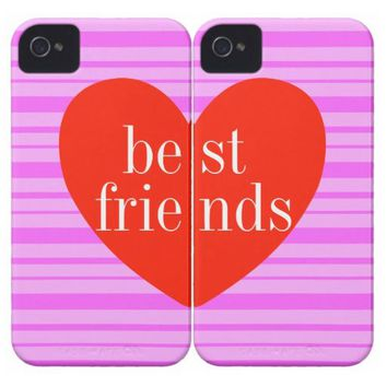a iPhone 4 Pink Stripe Best Friends Matching Cases Case-Mate iPhone 4 Case from Zazzle.com