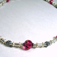 Sterling Silver Necklace, Fuchsia Necklace, Pink Crystal Necklace