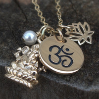 Yoga Necklace - Ganesha . Ganesh . Personalized . Custom Birthstone . Om . Lotus Flower . Gold. Black Friday Etsy