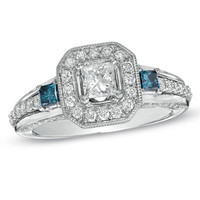 1-1/3 CT. T.W. Enhanced Blue and White Princess-Cut Diamond Frame Engagement Ring in 14K White Gold - View All Rings - Zales