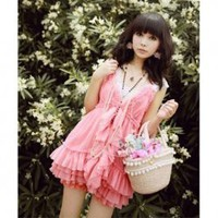Exquisite Lolita Style Frills Layered Single-Breasted High Elastic Waist Pink Chiffon Brace Dress For Women China Wholesale - Sammydress.com