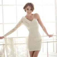 New Hot Sexy Women&#x27;s Classy One-shoulder Lace Sleeve Cocktail Evening Club Dress
