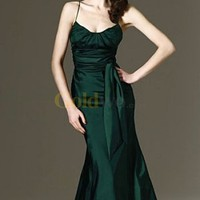 Simple Dark Green Mermaid Floor Length Spaghetti Sash Taffeta Evening Dress - US$179.99 - Goldwo.com