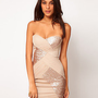 ELISE RYAN embellished sequin panelled bandeau party dress