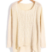 Beige High Low Batwing Sweater with Spot Detail by Chicnova