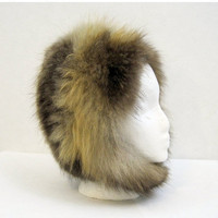 Fur Hat Vintage Boho Chic 70s Wolf Fur Winter Hood