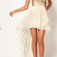 Hi-Lo Dress Gold/Cream by Unknown