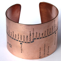 Chicago Subway Copper Cuff  Bracelet  Red Line by fugudesigns