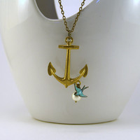 Anchor Necklace  Nautical Brass Anchor with by TheMerchantMariner