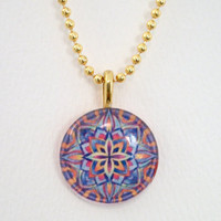 Glass Pendant Necklace - Blue, Red, Yellow Kaleidoscope Design  - 1 Inch Round Glass Tile - Medium Gold-Plated Bail - Gold Ball Chain