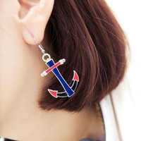 Cute Blue Anchor Drop Earrings for women wholesale