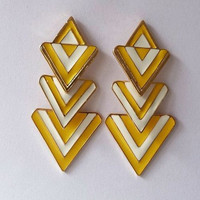 White and Yellow Geometric Dangle Earrings wholesale