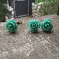 Turquoise flower ring and earring set,Turquoise ring,hypoallergenic flower earring