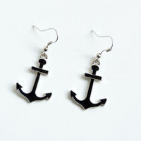 Cool Black Anchor Drop Earrings for women wholesale