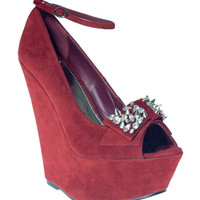 Burgundy Suede Spike Detail Peep Toe Wedges - Footwear - desireclothing.co.uk