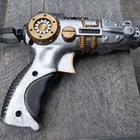 Steampunk Gun, Dart Gun Painted in Brass, Silver & Black - Accessory Weapon for Clockpunk Steampunk - Toy