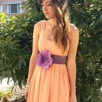 .REDUCED £30.  Neon Peach Chiffon Bubble Dress from beccaandpeggy