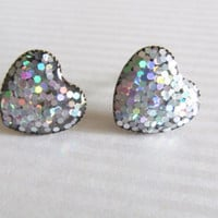 Silver Sparkle Heart Stud Earrings