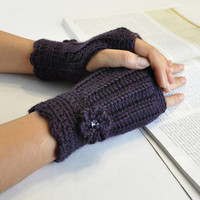 Fingerless Glove Wrist Warmer Gauntlet Plum Purple