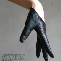 Genuine Lambskin Leather Fashion Runway Model Cut Away Punk Rocker Biker Glove FREE SHIPPING
