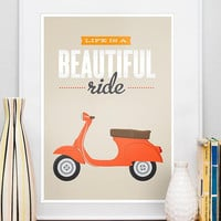 Vespa poster Qute, Inspirational art, life is beautiful, beige retro print, pop art, original art, Life is a beautiful ride A3